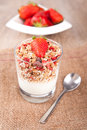 Cereal with fresh strawberries picture of a bowl of Royalty Free Stock Photos