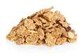 Cereal muesli pile of on white background macro shot Stock Photography