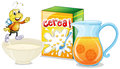 Cereal and orange juice for breakfast Royalty Free Stock Photo
