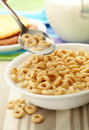 Cereal in Spoon and Bowl Stock Image
