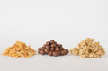 Cereal three types of on white background Royalty Free Stock Images
