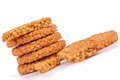 Cereals biscuits stack on white background Stock Image