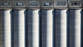 Cereals cement silos a cemet in marghera Royalty Free Stock Photos