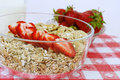 Cereals for healthiness fresh strawberries with breakfast Stock Image