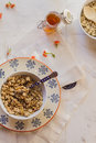 Cereals still life with and honey Royalty Free Stock Photos