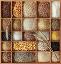 Cereals in wooden box Royalty Free Stock Photos
