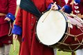 Ceremonial drum outdoors being banged Stock Photo
