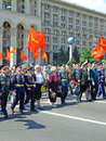 Ceremonial parade ukraine kiev may at kiev main street khreshchatyc dedicated to the th anniversary of victory in great patriotic Royalty Free Stock Image