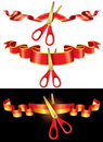 Ceremonial red ribbons and golden scissors Stock Photo