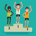 Ceremony of awarding medals. The three athletes on the pedestal Royalty Free Stock Photo