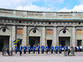 The ceremony of changing the royal guard in stockholm sweden august on august it is king s honor and is Royalty Free Stock Photo