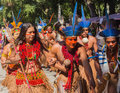 Ceremony of native brazilian indians a group showing their and dance Royalty Free Stock Photos