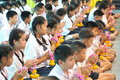 A ceremony in which the entire student body pays homage to their teachers bangkok thailand mar unknown children at elementary Stock Photo