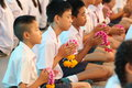 A ceremony in which the entire student body pays homage to their teachers bangkok thailand mar unknown children at elementary Stock Photos