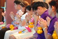 A ceremony in which the entire student body pays homage to their teachers bangkok thailand mar unknown children at elementary Royalty Free Stock Images