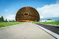 Cern geneva modern building glob in switzerland photo taken on june Stock Photo