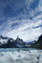 Cerro torre and glacier grande in los glaciares national park patagonia argentina Stock Photos