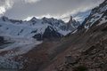 Cerro torre wide view evening clouds Stock Image