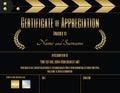 Certificate of appreciation template in movie film theme