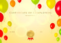 Certificate of completion template for children horizontal golden with bright colorful balloons background background usable Royalty Free Stock Photo