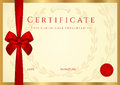 Certificate completion template wax seal border red bow ribbon golden background design usable diploma invitation gift voucher Royalty Free Stock Photo