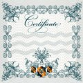 Certificate design in vintage style or coupon for document vector collection Stock Photo