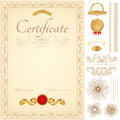 Certificate diploma background golden border vertical yellow of completion template with guilloche pattern watermarks borders Royalty Free Stock Image