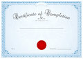 Certificate diploma background template floral of completion design scroll swirl pattern watermark border frame red wax seal Royalty Free Stock Photos