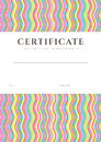 Certificate diploma background template pattern of completion or sample with colorful bright rainbow wave lines and place for text Royalty Free Stock Image