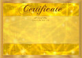 Certificate, Diploma of completion with abstract gold background, sparkling twinkling stars. Cosmic shiny galaxy (atmosphere)