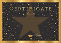 Certificate, Diploma of completion black background with gold frame and stars