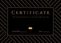 Certificate diploma of completion with black background golden elemets pattern border gold frame certificate of achievement Stock Photography