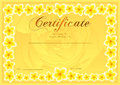 Certificate, Diploma of completion Frangipani design template, flower background with floral, pattern, border, frame