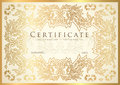 Certificate, Diploma of completion golden design template, white background
