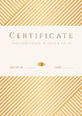 Certificate diploma template gold award pattern of completion background with stripy lines frame of achievement awards Stock Photography