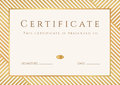 Certificate diploma template gold award pattern of completion background with stripy lines frame of achievement awards Royalty Free Stock Image