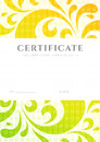 Certificate diploma template scroll pattern of completion or sample background with colorful bright rainbow floral swirl shape Royalty Free Stock Photography