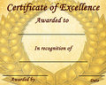 Certificate of excellence Royalty Free Stock Photo