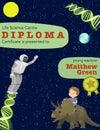 Certificate kids diploma badge , children kindergarten template layout space background design . Education preschool science