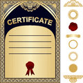 Certificate template with additional elements go is presented gold and dark blue design Royalty Free Stock Image