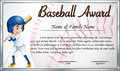 Certificate template for baseball award with baseball player bac
