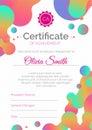 Certificate template. Diploma design with fluid color.