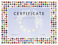 Certificate template with world flags icons as border Royalty Free Stock Photo