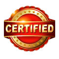 Certified guarantee golden label with ribbon. Royalty Free Stock Photo