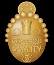 Certified quality emblem in gold design with royal crown and art deco motif Royalty Free Stock Photos