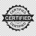 Certified scratch grunge rubber stamp. Vector illustration on is