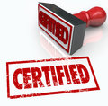 Certified stamp official verification seal of approval a red gives you the for offical your document company or product Royalty Free Stock Photography