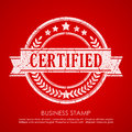 Certified vector stamp on red background Stock Photography