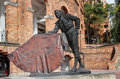Cesar rincon statue of famous colombian matador in the bull fighting arena of bogota la santamaria colombia Stock Photography