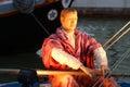 Cesenatico porto canale emilia romagna italy river sea boats light adriatico statues reflection crib italian Stock Photo